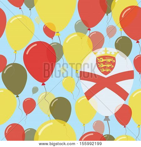 Jersey National Day Flat Seamless Pattern. Flying Celebration Balloons In Colors Of Channel Islander