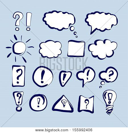 Speech bubbles and clouds set Hand drawn collection vector sketch