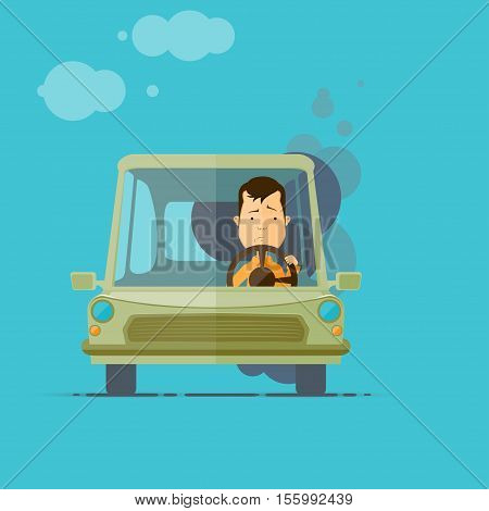 Trendy flat design vehicle sedan car accident after a car accident a broken traffic and surly driver vector illustrations EPS 10