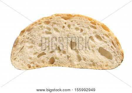 White ciabatta bread slice isolated on white background