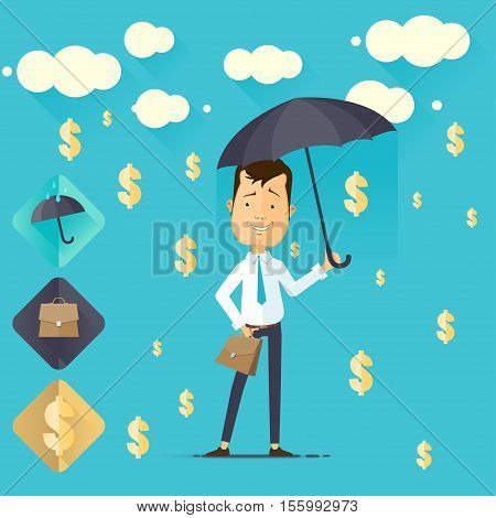 Successful businessman with a briefcase and an umbrella in the rain of money vector illustration in flat style isolated from the background