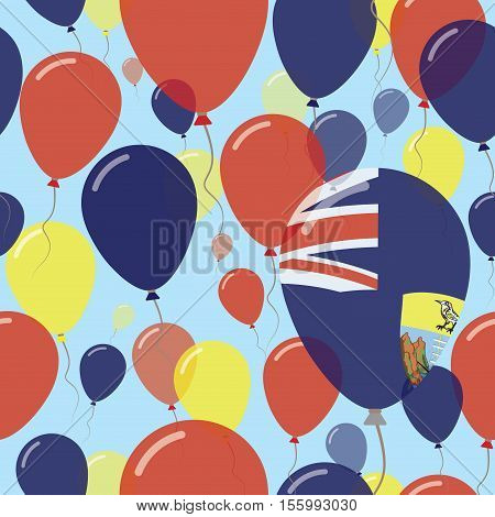 Saint Helena National Day Flat Seamless Pattern. Flying Celebration Balloons In Colors Of Saint Hele