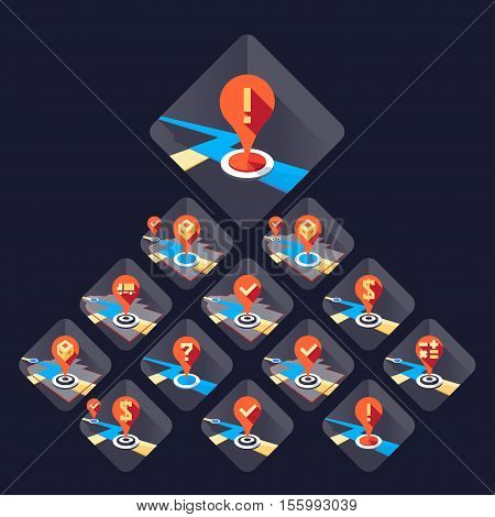 Delivery route icon set Vector illustration in flat style isolated from the background