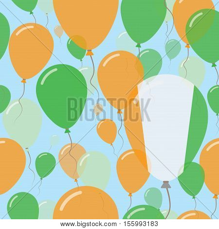 Cote D'ivoire National Day Flat Seamless Pattern. Flying Celebration Balloons In Colors Of Ivorian F