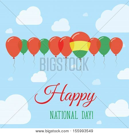 Bolivia National Day Flat Patriotic Poster. Row Of Balloons In Colors Of The Bolivian Flag. Happy Na
