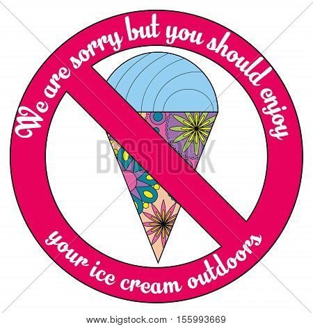 Vector polite plate with ice cream simple colorful