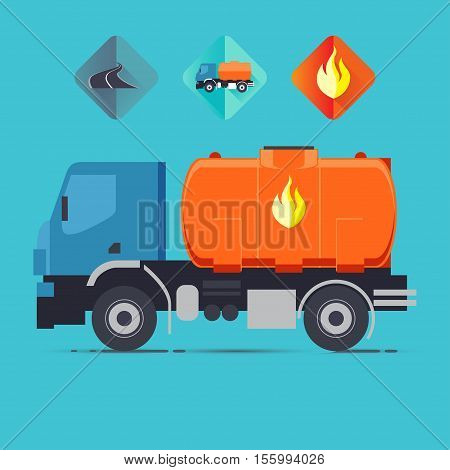 blue truck with fuel tank and a set of icons: the road the fire the trucks. Vector illustration in flat style isolated from the background