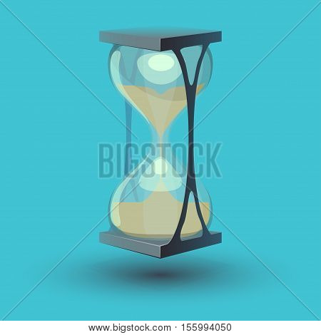 True transparent sand hourglass isolated on blue background. Simple and elegant sand-glass timer.