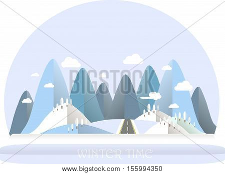 Winter mountain landscape. Blue and white hills, sky, clouds, tree. Flat design, stock vector illustration