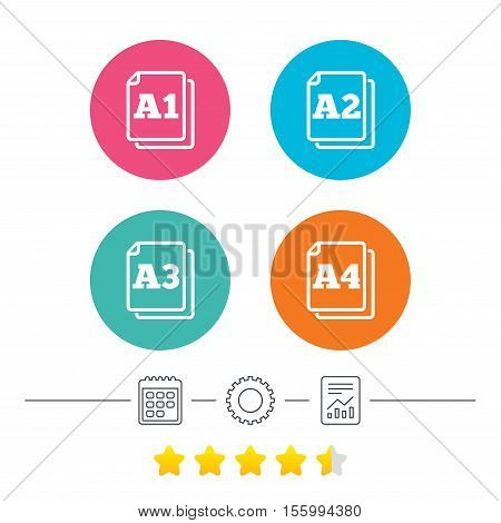 Paper size standard icons. Document symbols. A1, A2, A3 and A4 page signs. Calendar, cogwheel and report linear icons. Star vote ranking. Vector