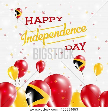 Timor-leste Independence Day Patriotic Design. Balloons In National Colors Of The Country. Happy Ind