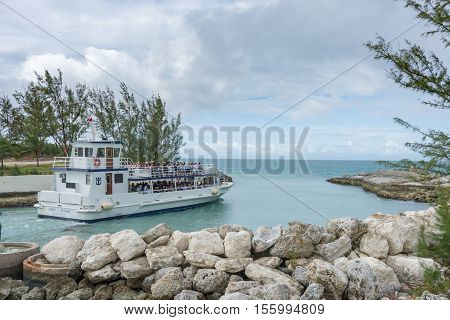 Boat Shuttling Tourists To Coco Cay Bahamas Private Tropical Island