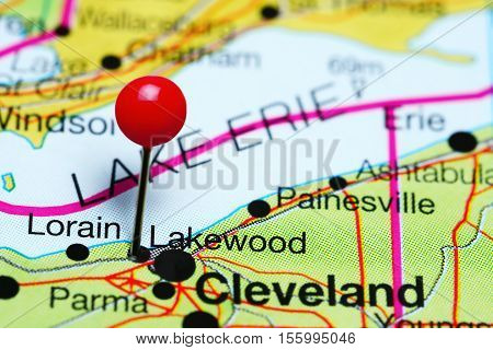Lakewood pinned on a map of Ohio, USA