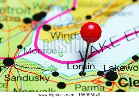 Lorain pinned on a map of Ohio, USA
