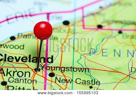 Youngstown pinned on a map of Ohio, USA