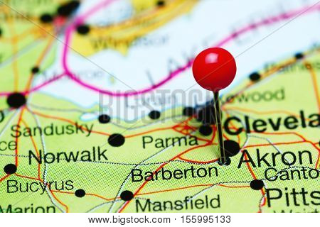 Barberton pinned on a map of Ohio, USA