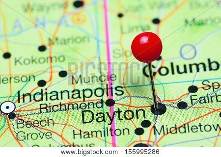 Dayton pinned on a map of Ohio, USA