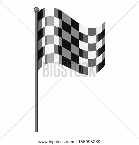 Chequered flag icon. Gray monochrome illustration of flag vector icon for web design