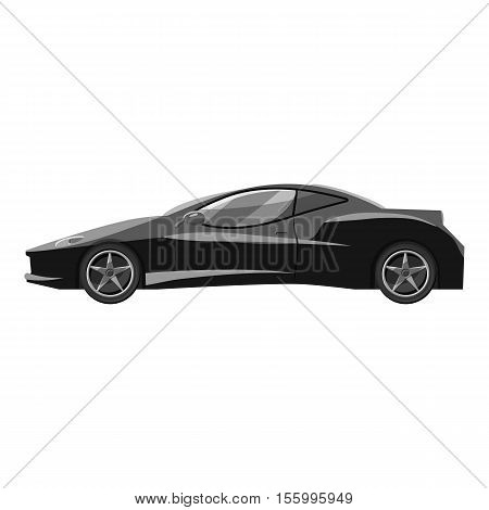 Car side view icon. Gray monochrome illustration of car side view vector icon for web