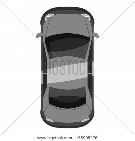 Car top view icon. Gray monochrome illustration of car vector icon for web design