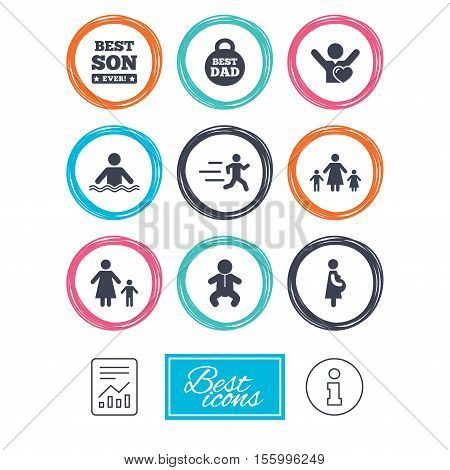 People, family icons. Swimming, baby and pregnant woman signs. Best dad, runner and fan symbols. Report document, information icons. Vector