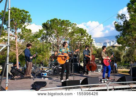 ATHENS, GREECE, NOVEMBER 2016: music band playing at Stavros Niarchos park