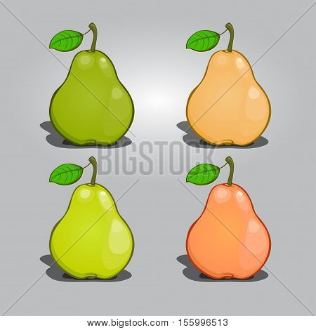 Pear Collection vector a set of fruit without a background summer food fresh vitamins in cartoon style