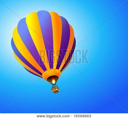 vector hot air balloon in the sky