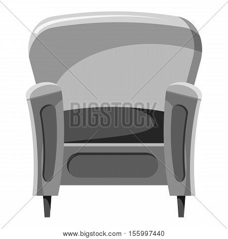 Armchair icon. Gray monochrome illustration of armchair vector icon for web design
