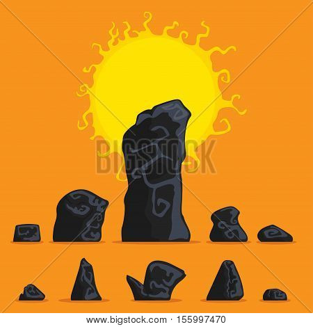 Rocks and stones single set for game art architecture design Vector illustration in flat cartoon style isolated from the background