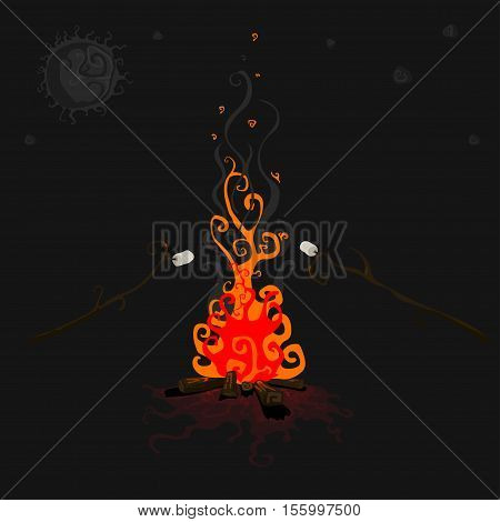 Bonfire with marshmallow - camping burning woodpile.Vector illustration in flat cartoon style isolated from the background