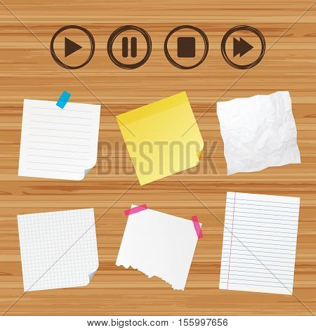 Business paper banners with notes. Player navigation icons. Play, stop and pause signs. Next song symbol. Sticky colorful tape. Vector