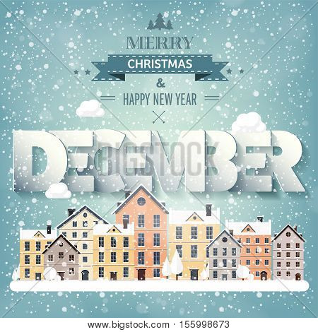 December month, winter cityscape.City silhouettes.Town skyline. Panorama. Midtown houses.New year, christmas.Holidays in January February. poster