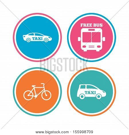 Public transport icons. Free bus, bicycle and taxi signs. Car transport symbol. Colored circle buttons. Vector