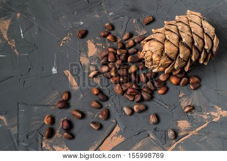 Nuts (seeds) and cone of Siberian pine (Pinus sibirica) on a dark textured surface