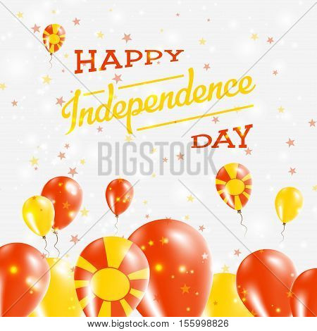 Macedonia, The Former Yugoslav Republic Of Independence Day Patriotic Design. Balloons In National C