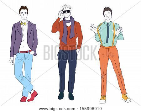 Handsome young guys men models in casual modern fashion clothes isolated. Flat sketch line man people set