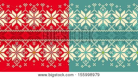 Christmas knitted seamless pattern. Winter seamless ornament with snowflakes