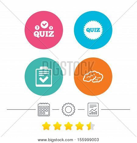 Quiz icons. Human brain think. Checklist symbol. Survey poll or questionnaire feedback form. Questions and answers game sign. Calendar, cogwheel and report linear icons. Star vote ranking. Vector