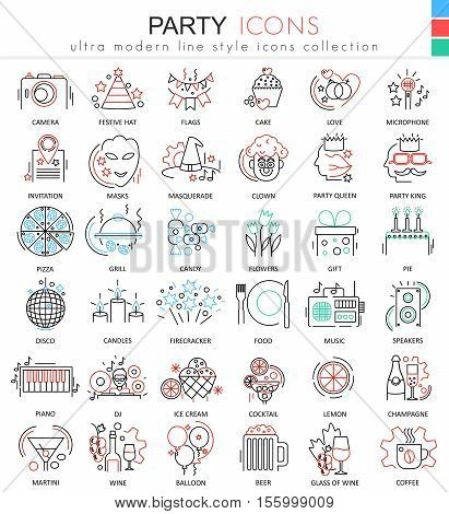 Vector Party disco ultra modern outline line icons for apps and web design. Party sybols for app and web