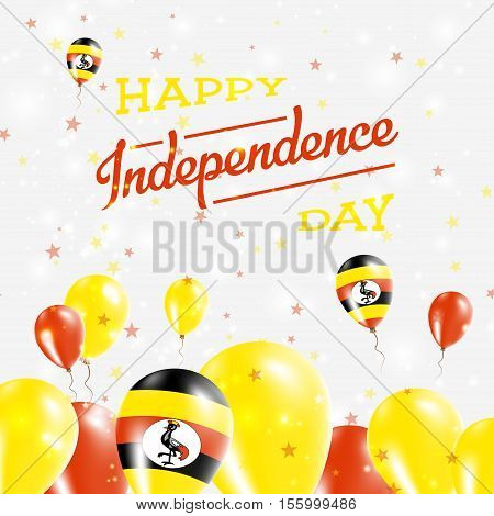 Uganda Independence Day Patriotic Design. Balloons In National Colors Of The Country. Happy Independ