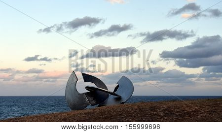 Sydney Australia - Oct 23 2016. Inge King: Link iii 2007. Sculpture by the Sea along the Bondi to Coogee coastal walk is the world's largest free to the public sculpture exhibitions.