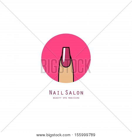 Pink square nail on a finger. Beauty salon icon