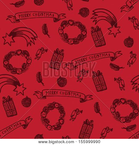 Christmas seamless pattern made from little hand drawings.
