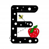 """The letter E in the alphabet set """"Buzzer"""" is black with white polka dots. Letter is decorated with a red apple and a buzzing bee. poster"""