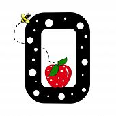 """The letter O in the alphabet set """"Buzzer"""" is black with white polka dots. Letter is decorated with a red apple and a buzzing bee. poster"""