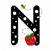 """The letter N in the alphabet set """"Buzzer"""" is black with white polka dots. Letter is decorated with a red apple and a buzzing bee. poster"""