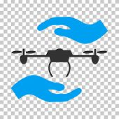 Airdrone Care Hands interface icon. Vector pictogram style is a flat bicolor symbol, blue and gray colors, chess transparent background. poster
