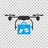 Airdrone Pharmacy Delivery interface toolbar icon. Vector pictogram style is a flat bicolor symbol, blue and gray colors, chess transparent background. poster