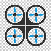 Copter square icon. Vector pictograph style is a flat bicolor symbol, blue and gray colors, chess transparent background. poster